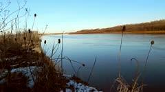 Winter river Desna, Ukraine Stock Footage