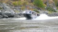 Jet Boat Speeding Up River Stock Footage