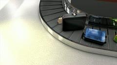 Airport baggage carousel, baggage, luggage, claim. Stock Footage