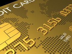 Gold credit card, macro 3d render Stock Illustration