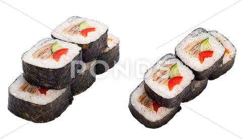 Stock photo of sushi roll set with eel, sweet pepper, cucumber