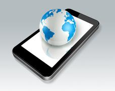 Stock Illustration of mobile phone and world globe