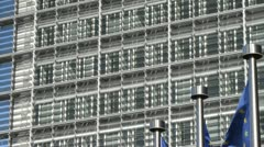 Flags of the European Union at the EU Commission in Brussels, Belgium Stock Footage