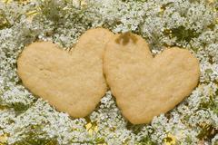 Shortbread delicious heart-shaped Stock Photos