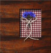 wooden frame background with blue flowers - stock photo