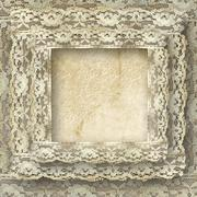Vintage frame card for invitation or congratulation with border lace Stock Photos