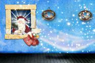 Santa claus leaving presents at home Stock Illustration