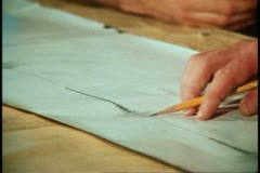 San Francisco, 1970's, hands and pencil on map, zoom back scientist, student Stock Footage