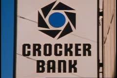 San Francisco, 1970's, Crocker Bank sign, close up Stock Footage