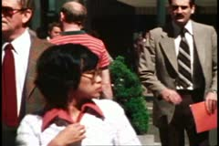 San Francisco, 1970's, lunchtime crowds, crushed shot of crowd Stock Footage