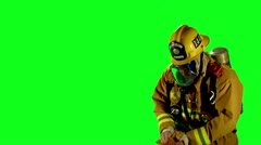 Firefighter green screen first reponder hero professional emergency fireman Stock Footage