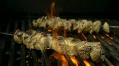 BBQ chicken skewers Stock Footage