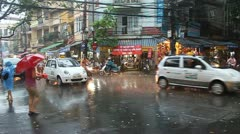 Street during a monsoon rain Stock Footage