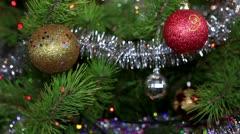 Christmas tree twinkle lights Stock Footage