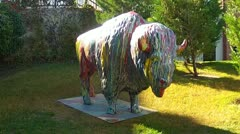 Painted Buffalo Sculpture- Oklahoma City Riverwalk Stock Footage