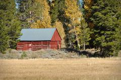 red cabin in the fall - stock photo
