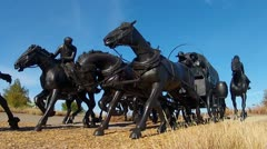 Section Of Oklahoma Land Rush Sculpture Stock Footage