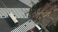 Aerial View Shot Entertainment Zone Hachiko Japan Tokyo Cars Passing City Center Stock Footage