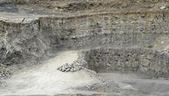 stone pit walls - stock photo