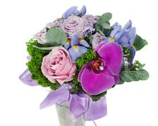 Colorful flower wedding bouquet for bride from roses, iris and orchid, isolat Stock Photos