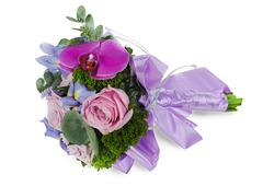 Colorful flower wedding bouquet for bride from roses, iris and  orhid, isolat Stock Photos