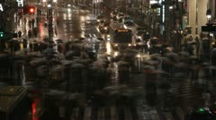 Time Lapse Crowded Urban Shopping Street Tokyo People Crowd Crossing Night Light - stock footage