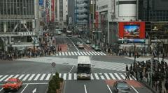 Tokyo Business District Zebra Crossing Commuter Commute Pedestrians People Cross Stock Footage