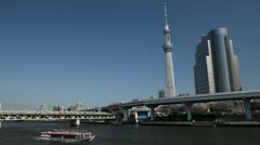 Highway in Sumida, Tokyo Skytree in Japan, The Tallest Tower in the World Stock Footage