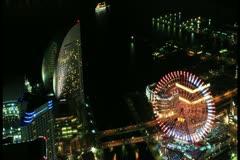 Yokohama Bay in Time Lapse at Night Stock Footage