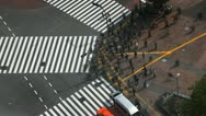 Stock Video Footage of Aerial View of Shibuya Crossing, Tokyo, Japan, Day Traffic Crowds, time lapse