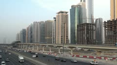 Sheikh zayed road and skyscrapers day Stock Footage