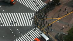 Famous Location Metropolis Sidewalk Urban Scene Cars Passing City Center Tokyo Stock Footage