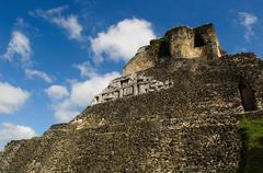 xunantunich belize mayan temple - stock photo