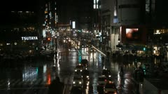 Night Evening Tokyo Traffic Crowd Anonymous People Busy Street Shibuya Crossing Stock Footage
