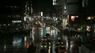 Stock Video Footage of Shibuya Crossing, Tokyo, Japan, Night Traffic Crowds, Umbrella, Mansoon, Rain