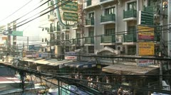 Khao San Road in the morning Stock Footage