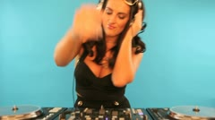 Veautiful brunette disc jockey Stock Footage