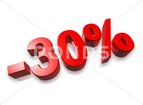 Stock photo of 30% thirty percent