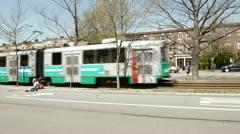 Trolley Rolls Through Stock Footage