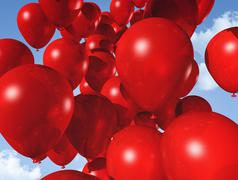 red balloons on a blue sky - stock illustration