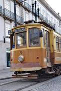 old tram in the city of porto, portugal - stock photo