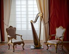 Classic elegant chairs and harp Stock Photos