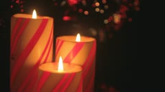 christmas candle trio detail - stock footage