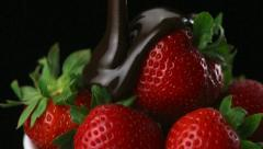 Chocolate sauce on strawberry, Slow Motion Stock Footage