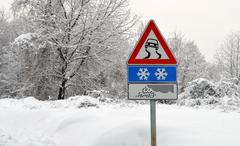 danger street sign for severe weather conditions - stock photo