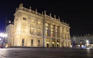 Palazzo madama in turin at night Stock Photos