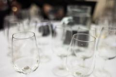 glasses at a wine tasting - stock photo