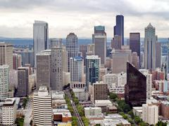 aerial view of seattle city - stock photo