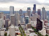 Aerial view of seattle city Stock Photos