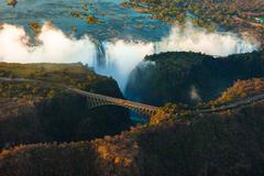 Victoria falls from the air Stock Photos